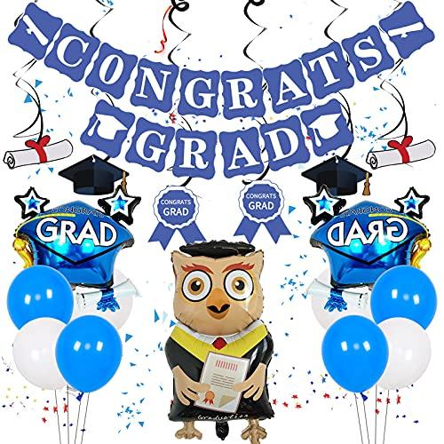 Decoraciones de GraduacióN - Globos Gigantes de Papel de Aluminio, Globos de LáTex Negro Amarillo, Bandera de La Temporada de GraduacióN, Remolinos Colgantes, Cinta de EnvíO y Rollo de PelíCula