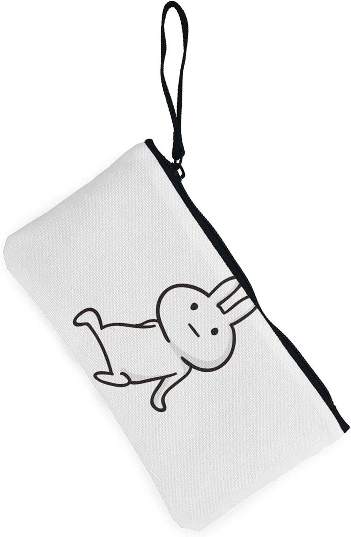 AORRUAM Boring rabbit Canvas Coin Purse,Canvas Zipper Pencil Cases,Canvas Change Purse Pouch Mini Wallet Coin Bag