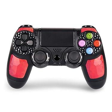 Controlador para PS4 controlador inalámbrico para Playstation 4 – OUBANG PS4 mando a distancia con cable de carga, buena opción en PS4 Game Joystick regalo para Navidad, Brithday (Ruby)