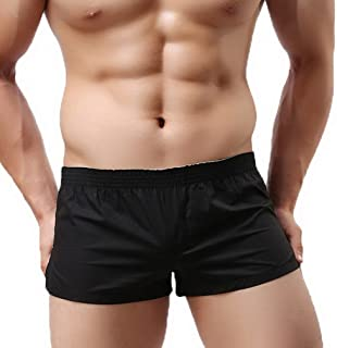 COMVIP Men Casual Solid Elastic Low Waist Cotton Pouch Boxers Shorts