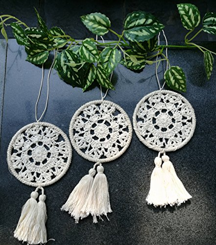 Bella's garden Mini Dream Catchers Boho Wedding Party Favor Baby Shower Birthday Gift Bedroom Wall Ornaments Car Hanging Decoration Tassels Living Room Bedroom Bathroom Vintage Chic, Set of 3 (S2)