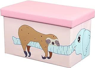 оtо & Bеn ホームデコ 20インチ おもちゃ箱 - 折りたたみ収納オットマンチェスト フォームクッションシート付き 洗えるフェイクレザーフットレストスツール 子供用 ナマケモノ 象