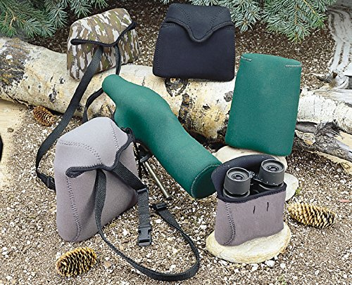 OP/TECH USA Bino Roof Soft Pouch - Padded Binocular Case, Medium (Steel)