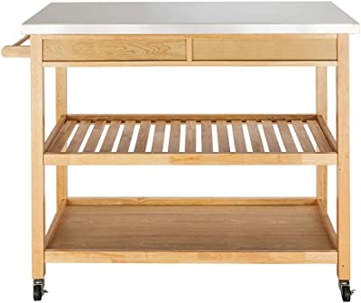 Amazon Com Rolling Kitchen Island With Storage 3 Tier Serving Cart Large Storage With Stainless Steel Countertop Two Drawers Two Shelves Kitchen Islands Carts