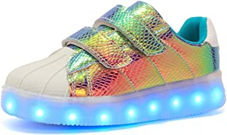 EVLYN Boys Girls 16 Colors LED Light Up Running Shoes for Kids USB Flashing Sneakers Light Shoes