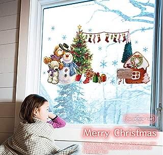 LONGTEN Christmas Windows Stickers Snowman Bear Removable Vinyl Christmas Tree DIY Wall Window Door Mural Decal Sticker for Showcase