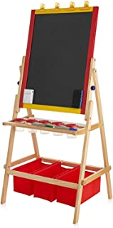 DELTA PRIME SAVINGS CLUB Children's Two Sided Art Easel, Magnetic Dry Eraser Board with Easel Chalkboard, Paper Roll for Painting, Drawing, Accessories and Storage