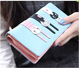 Wallet. Suitable for ladies and students. New and cute animal stitching pattern, zipper, buckle, student mobile phone bag, ladies wallet, card holder, cute wallet for girls (Color : Light blue)