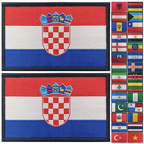 JBCD 2 Stück Kroatien Flagge Patch Kroatien Flaggen Tactical Patch Pride Flag Patch für Kleidung Hut Patch Team Military Patch