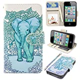 iPhone 4s Case, iPhone 4 case, MagicSky iPhone 4/4S Wallet Case, Premium PU Leather Funny Case Flip Cover with Card Slots & Stand for iPhone 4/4S, Elephant1 (Official Micklyn Le Feuvre Product)