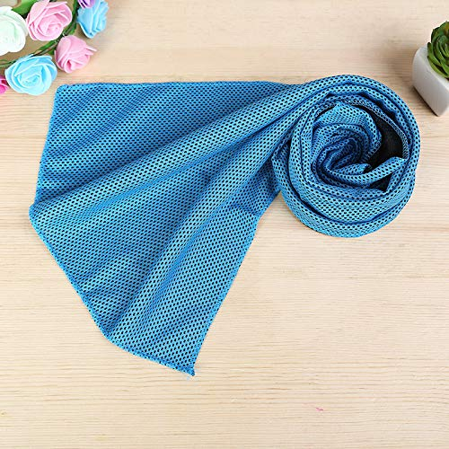 Okakopa Instant Cooling Towel - 1 Pcs Cold Relief in Hot Environment Ice Towels Stay Cool Scarf for Sports and Fitness (Blue)