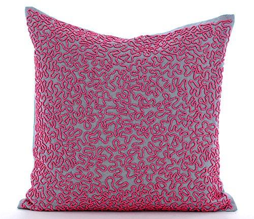 Diseñador Gris cojines para sofas, Beads Abstract Perlas de fucsia fundas cojines, 50x50 cm funda cojin, Geométrico Moderno fundas de cojin, Sabana de algodon fundas de almohadas - Dream Catcher