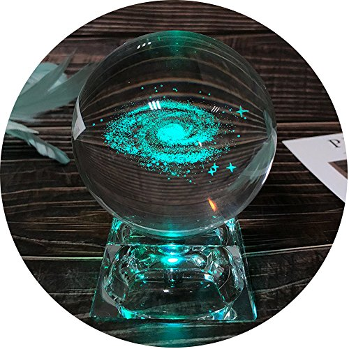 FTYtek Galaxy Crystal Ball, Clear 80mm (3.15 inch) Galaxy Glass Ball with Colorful LED base, Best Birthday Gift for Kids, Boy friend, Teacher of Physics, Girlfriend Gift, Classmates and Kids Gift