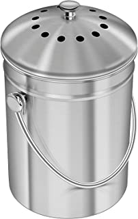 Stainless Steel Compost Bin for Kitchen Countertop - 1.3 Gallon Compost Bucket Kitchen Pail Compost with Lid - Includes 1 ...