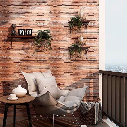 Wood Wallpaper Wood Grain Wallpaper Splicing Wood Vinyl Wallpaper Rolls, Brown Faux Wood Plank Wallpaper Self-Adhesive Wallpaper Murals Printing Paper for Wall Decal,17.7'×236'