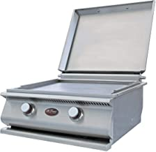 Cal Flame 24-Inch Built-in Stainless Steel Natural Gas Hibachi Griddle/Gas Grill W/Removable Stainless Steel Cover (Ships As Propane with Conversion Fittings) - BBQ13900N
