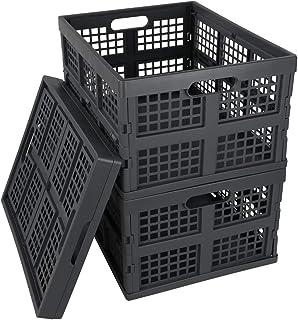 Idomy Plastic Folding Storage Crates, Grey Collapsible Basket, 28 L, Set of 3