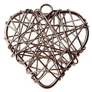 braun Dekoanhänger aus Draht in Herzform – Inhalt pro Packung 6 Stück