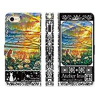 ブレインズ iPhone6S iPhone6 手帳型 ケース カバー 想い遠くへ 黒 アトリエアイリス 猫 動物 きれい 油絵 デザイン イラスト 棚田 旅 山