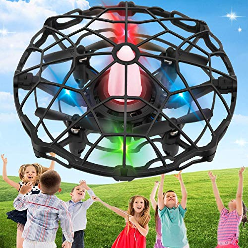 SHWD Drones for Kids, UFO Drone Mini Kids Drone with Led Lights, Hand Operated Child Drones Flying Ball Drone Toy 360 Rotating Helicopter for Boys Girls Adult Outdoor Indoor