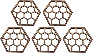 KESYOO 5pcs Wood Coasters for Drinks Absorbent Coffee Coaster Honeycomb Design Beer Coaster Round Coasters Heat Insulation...