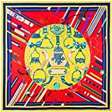 DFHTR 130X130Cm Marke Schal Gürtel Gürtel Sattel Twill Seide Schal Für Damen Quadrat Schals Bedruckte Halstuch Frauen Schal Wraps
