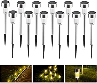 Hisome 12 Pack SolarGarden Lights Outdoor, Solar Pathway Lights Stainless Steel Outdoor Landscape Lighting for Lawn/Patio/Yard/Walkway/Driveway (Warm White)