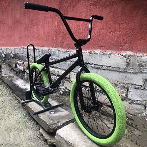 Bicicletta da bici BMX freestyle Ruote da 20 pollici per adulti e adolescenti, cambio 25X9T, manubrio da 8,6 pollici / telaio in acciaio al cromo molibdeno e forcella anteriore, pneumatico verde