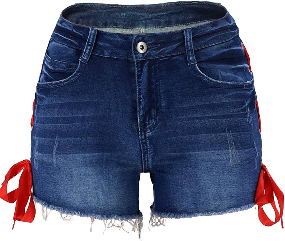 DCOIKO Women Denim Casual Summer High Waist Stretchy Jean Shorts Junior Short Jeans