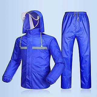 Regenbekleidung  Herren/Damen Wasserdicht Set Herren Wasserdicht Regenmantel Jacke Mantel Hose Unterteile Set Anzug Arbeit Camping Angeln (Color : Blue A, Size : M)