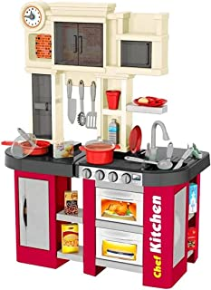 D-M Cocina de Juguete Infantil Luz Y Sonido Agua 58 pzs Alto 84 cm - Rojo