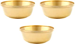 Tibetan Buddhist Water Offering Bowls Pack of 3, Hand Carved Tibetan Buddhist Offering Bowl Brass Copper Yoga Copper Conta...