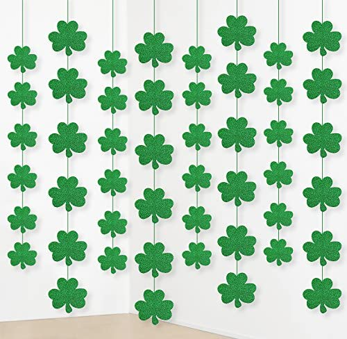 jollylife 12PCS St Patrick s Day Shamrock Decorations Lucky Irish Party Hanging Ornaments Garland product image