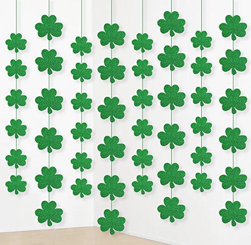jollylife 12PCS St Patrick Day Shamrock Decorations  Lucky Irish Party Hanging Ornaments Garland Cutouts
