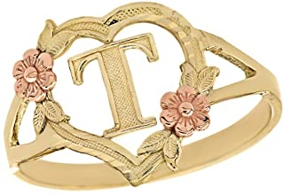CaliRoseJewelry 10k Gold Initial Alphabet Personalized Heart Ring - Letter T