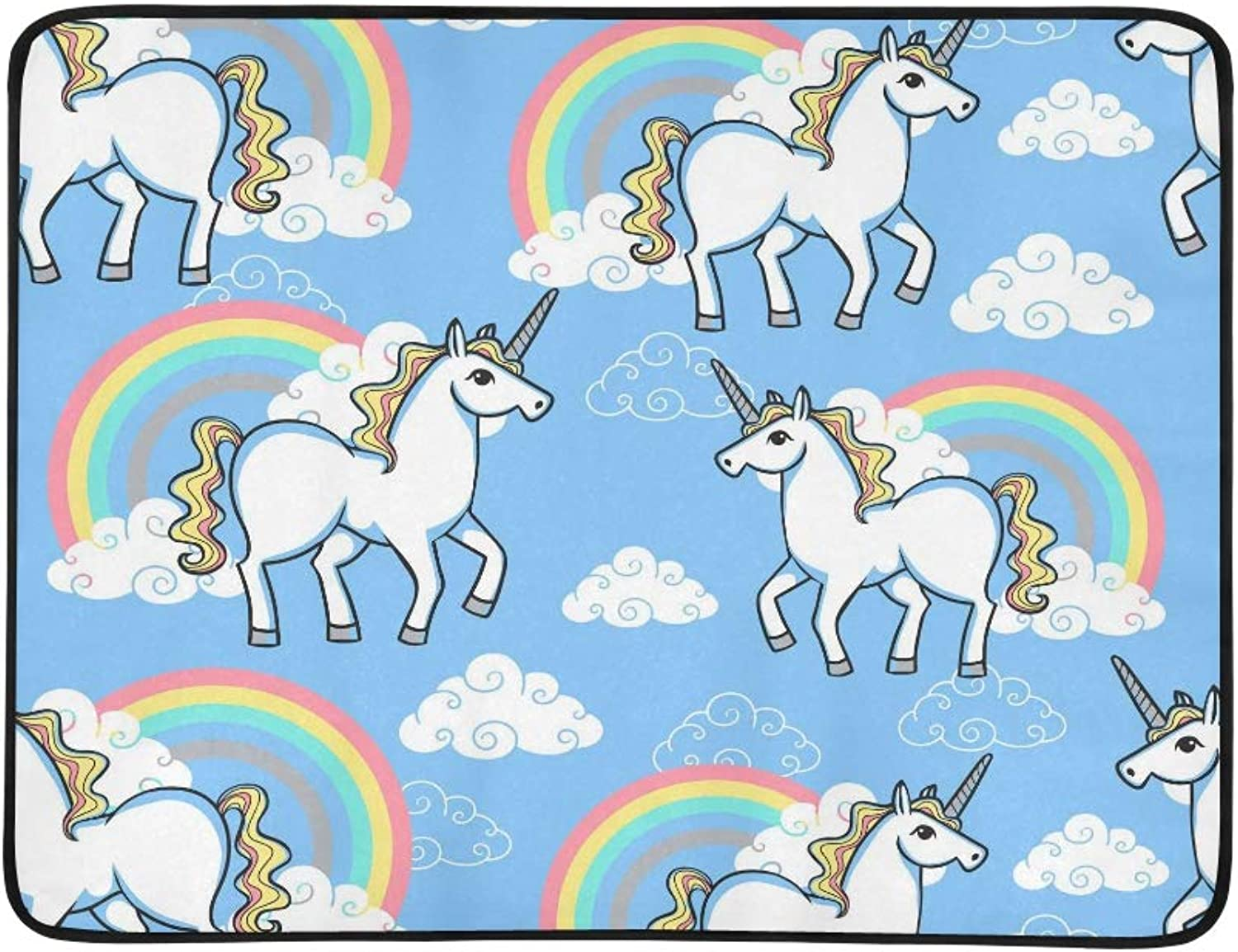 Cartoon Doodle Unicorn with Rainbow and Clouds Sea Pattern Portable and Foldable Blanket Mat 60x78 Inch Handy Mat for Camping Picnic Beach Indoor Outdoor Travel