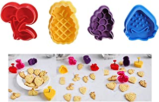 Cookie Cutter Embossing Mold Set By Garloy(4 Pack),Mini Christmas Fruit Theme Cute Cookies Cake Topper Sugar Craft Chocolate Plunger Cutter Mold,Spring-loaded Handle,Food Safe Plastic(Colors May Vary)