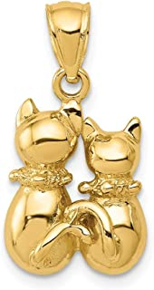 14k Yellow Gold Cat Pendant Charm Necklace Animal Fine Jewelry Gifts For Women For Her