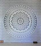 Tradicional tapiz de mandala indio, hippie, para colgar en la pared, colcha de algodón bohemio., algodón, Gris/plateado, Queen(84x90 Inches)(215x230 Cm)