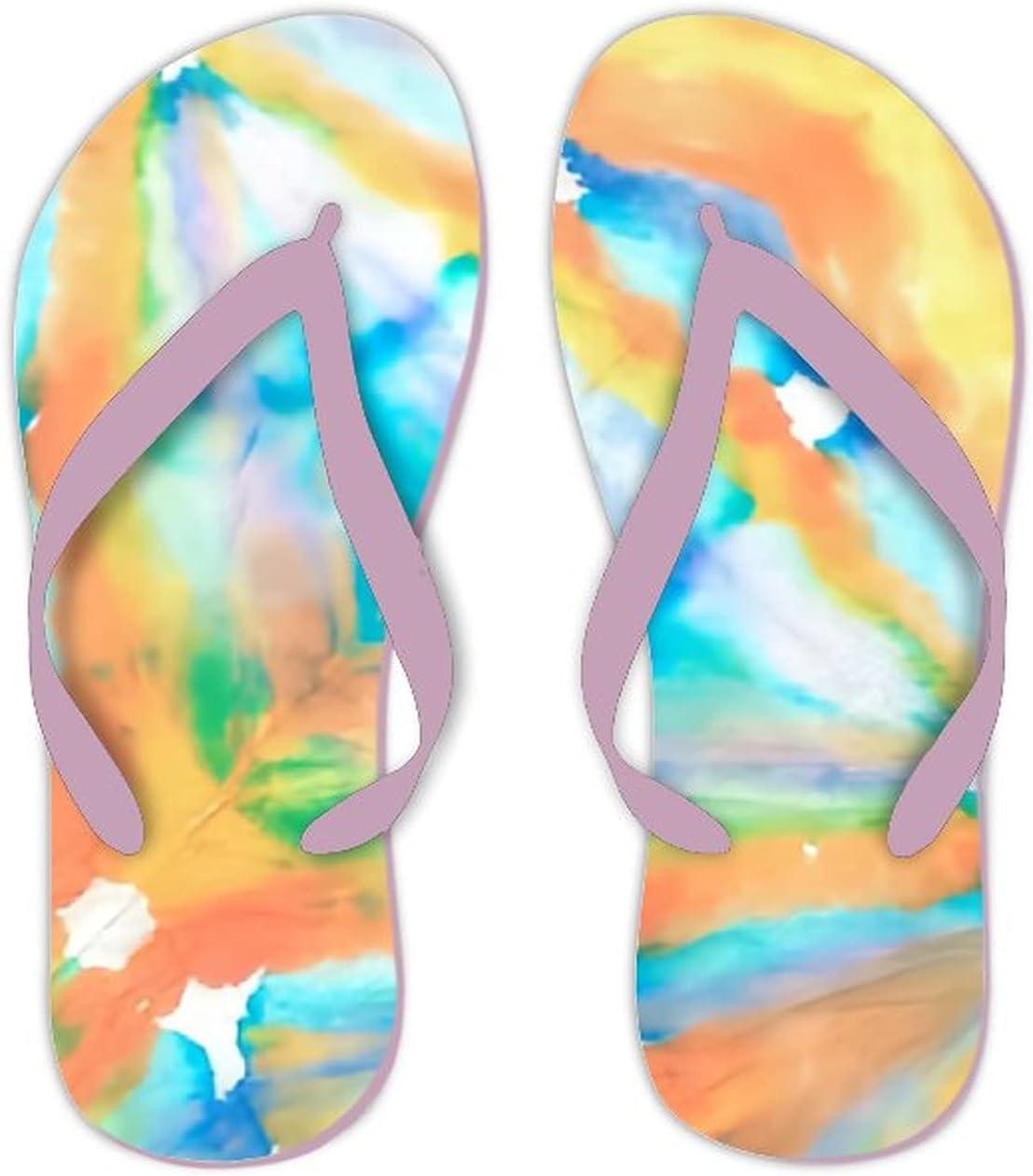 UTF4C Summer Flip Flops for Men Women Ethnic Background Art Ornament Tribal Soft Lightweight Non Slip Sandals for Shower Beach Pool Bathroom Flat 10