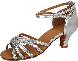 dcf6defa VESI-Zapatos de Baile Latino de Tacón Alto/Medio para Mujer