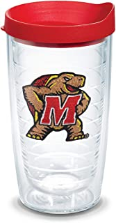 Tervis 1079567 Maryland Terrapins Logo Tumbler with Emblem and Red Lid 16oz, Clear