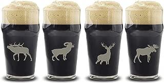 Big Horn Wildlife Choice of Pilsner, Beer Mug, Pub, Wine Glass, Rocks, 1 each of a Moose, Bear, Wolf, Deer Etched