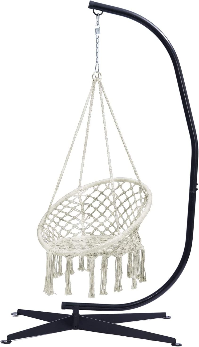 FQX Hammock Max 77% OFF Chair with Stand We OFFer at cheap prices Swing Rope Hanging Cotton