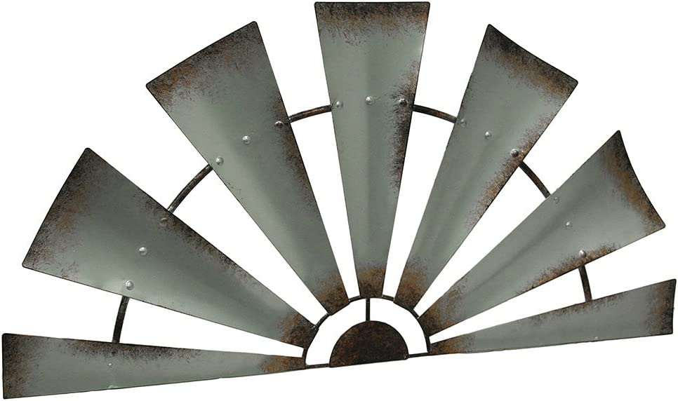 LL Home Metal Windmill Semi-Circle Wall Home Decor, One Size, Gr