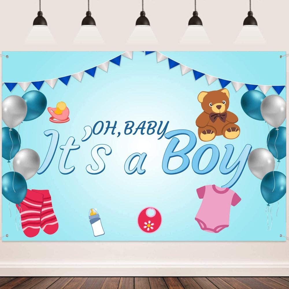 New Gender Reveal Backdrop FHZON 7x5ft Brown Wood Grain Banner Ribbon Background for Photograph Boy Theme Party Baby Shower Studio Booth Banner 496