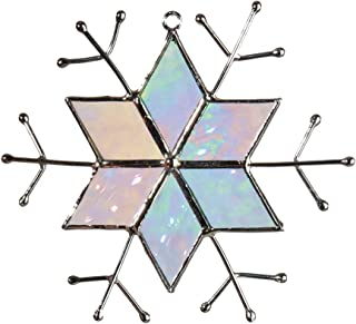 J Devlin ORN 189 Iridescent Glass Snowflake Christmas Ornament or Window Sun Catcher Winter Holiday Decor