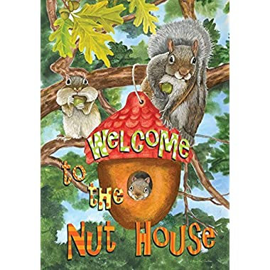 Welcome to the Nut House Summer Garden Flag Humor Squirrels Tree House 12.5 x18