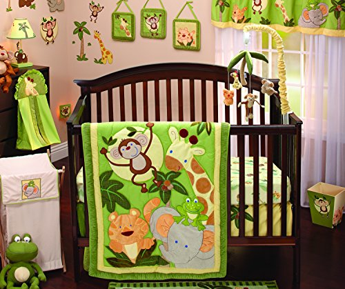 NoJo Jungle Babies 9 Piece Nursery Crib Bedding Set, Green/Yellow/Tan/Brown