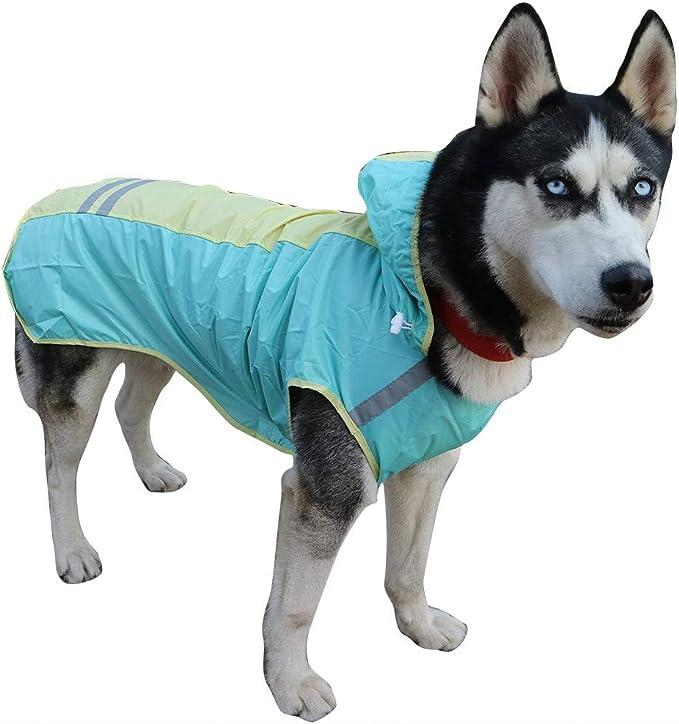 Packable Leggero Pet Water Proof Clothes Rain Jacket with Hood Poncho Antipioggia per Cani di Taglia Piccola Medium Cani,12 ZDJR Pet Dog Cat Raincoat